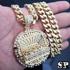 Big cuban link chain in fashion necklaces pendants for sale ebay iced out men hip hop 14k gold pt big last supper cz pendant 30 cuban aloadofball Image collections
