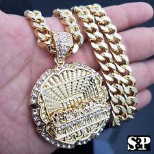 """Iced out Men Hip Hop 14k Gold PT Big Last Supper CZ Pendant 30"""" Cuban Link Chain"""
