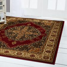 Red Floral Medallion Runner Round Oriental Area Rug Persien Vines Border Carpet