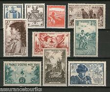 FRANCE - 1945 YT 734 à 743 - TIMBRES NEUFS** LUXE