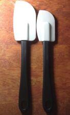 """2pc RUBBER SPATULA / SCRAPER / Spreader Set NEW 8.5"""" & 9.5"""" Sturdy Black Handle"""