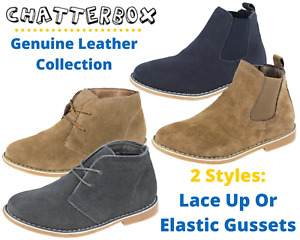 Boys Real Suede Leather Lace up Elastic Gusset Chukka Desert Smart Ankle Boots