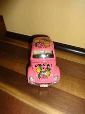 Pink Cocktail Volkswagen Beetle Die Cast Plastic Car 1:32 Pull Back Doors Open