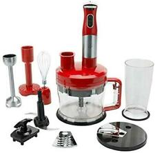 New, Wolfgang Puck 7-in-1 Immersion Blender w/ 12-Cup Food Processor in Red