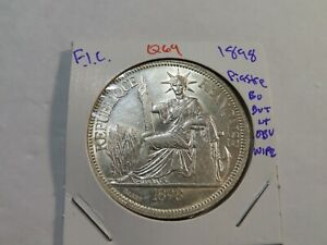 Q69 French Indochina 1898-A Piastre BU But Light Obverse Wipe