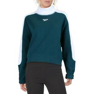 Reebok Womens Green Cropped Turtleneck Sweatshirt Athletic L BHFO 6266