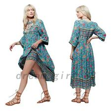 Gypsy Folk Flower Ethnic Summer Beach Empire Waist Women's Mid-calf Tea Dress