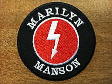 "Marilyn Manson 3"" Sew Iron On Patch Heavy Metal Rock Band Embroidered Logo Music"