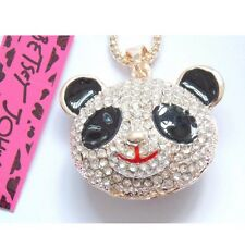 Betsey Johnson Necklace PANDA Black And White Gold Crystals Adorable