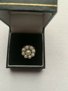 Beautiful Vintage 18 Ct Gold Pearl Ring