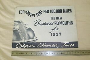(MB2/F) Brochure catalogue The new Business PLYMOUTHS for 1937