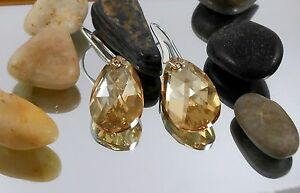 Silver Earrings Swarovski Crystal Pure plated 4 Micron Dangle drop bridal women