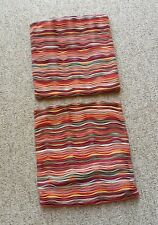 """Vintage Pair 16"""" Square Hippie Throw Pillow Cases Funky Chic Retro Zip Back"""