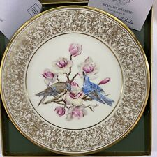 Vintage! 1972 Lenox Edward Marshall Boehm Gold Rimmed Plate, Mountain Bluebird