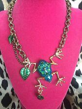 Betsey Johnson Eye Of The Tiger HUGE Blue Glitter Rainforest Tree Frog Necklace