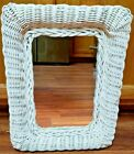 Vintage White Wicker Rattan Wall Mirror Shabby Chic Cottage Beach