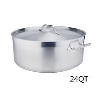 24QT Stainless Steel Stockpot Low Pot Sandwich Bottom w/Lid Cookware Cooking Pot