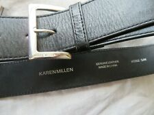 KAREN MILLEN, ENGLAND, S/M, Black 100% Leather Belt, Smart Classic THE MUST HAVE