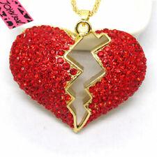 New Betsey Johnso Red Flower Lightning Bling Crystal Pendant Women Necklace