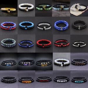 Men Natural Lava Stone Crown Arrow Beaded Cuff Charm Bangle Bracelets 2Pcs/Set