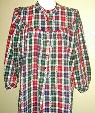 Women's LL Bean Plaid Long Cotton Nightgown Size M Loose, long Sleeve Red Hearts