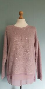 Gerry Weber Dusky Pink Long Sleeved layered Jumper With Sequins Size 12-14