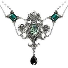 ALCHEMY QUEEN OF THE NIGHT GOTHIC STATEMENT NECKLACE GREEN SWAROVSKI & PEWTER