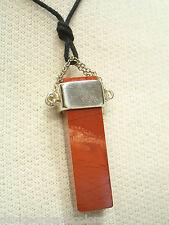 Ciondolo in ARGENTO 925 con colonna in DIASPRO rosso e girocollo - Pietra dura -