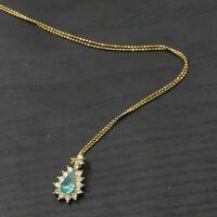 Vintage Gold Toned Blue Aquamarine Pear Rhinestone Pendant Choker Necklace B28