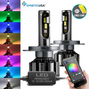 9003/H4 CSP RGB Multi-Color Bluetooth Control LED Headlight Bulb Conversion Kit