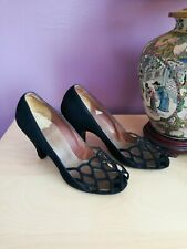 Vintage Pandora 40s Peep Toe Shoes, Black Suede Slingback Peep Toe Pumps 7.5 Aa