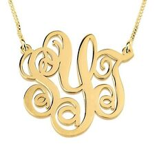 New Monogram Necklace 24k Gold Plated 1.2″ Split Chain 3 Initial - oNecklace ®