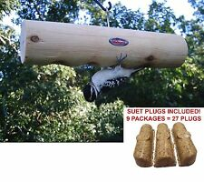 Kettle Moraine Cedar Clinger Log Suet Plug Feeder & 9 packs Insect Suet Plugs