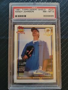 1991 Topps Desert Shield Randy Johnson card #225 PSA 8 NM-MT before half grades