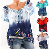 Women Short Sleeve Loose Boho Plus Size T Shirt Summer Casual Blouse Tops Floral