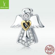 Kind Angel S925 Sterling Silver Charm CZ Pendant Fit Bracelet Necklace Jewelry