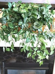 Artificial Faux House Plant in Wicker Basket Home Decor Green Greenery Tabletop