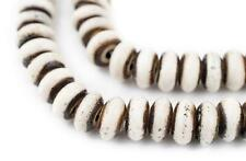 Grey Bone Mala Disk Beads 10mm Nepal Large Hole 24 Inch Strand