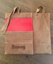 Tobacco Pouch, Baccy Pouch Made from Cognac Pig Suede leather & Laser etched