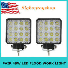2PCS 48W High Power LED Work Light Flood Beam Lamp Jeep Offroad ATV SUV BOAT