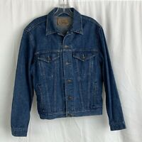 Vintage Plain Pockets Denim Button Trucker Jean Jacket Men's Size 40 JC Penney
