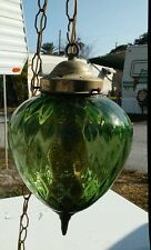 Pretty little emerald green vintage quilted pattern swag lamp with fuser & chain