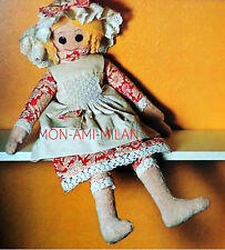"""Rag Doll Sewing Pattern Photocopy To Make Soft Toy Dolly with Clothes 24"""" Tall"""