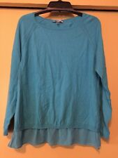 NEW DKNYC Turquoise Knit Top, Sheer Hem, Cotton Blend, Size Large NWT