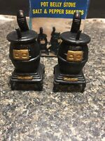 Vintage Plastic salt and pepper shakers, Pot Belly stoves.(black plastic).
