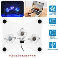 USB Notebook Laptop Cooler Cooling Pad LED Heatsink 3 Fan Cool for Computer PC