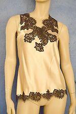 / Marjolaine Camiseta 98% Seda & Encaje S/FR38/EU36/UK10 Beis & Negro De Flora