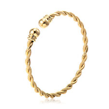 XUP002-Charm Mens Womens Love Rope Bangle Expandable Bracelet Yellow Gold Filled
