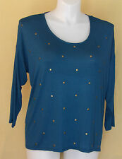 Attention Womens Teal Embellished Shirt Sheer Insert on Back XL NWT 20772