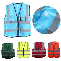 High Visibility Safety Vest With Zipper Reflective Jacket Security Waistcoat AT